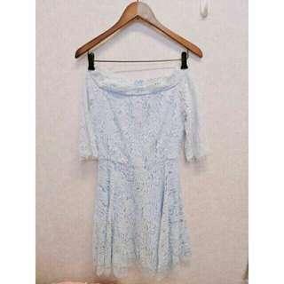 全新高質感夢幻甜美馬卡龍粉藍色水藍蕾絲洋裝蕾絲一字領洋裝短袖洋裝伴娘服小禮服M號