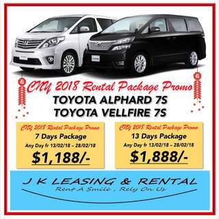 CNY RENTAL PROMO TOYOTA VELLFIRE TOYOTA ALPHARD 7 8 SEATERS UBER GRAB RENT RENTAL MPV SUV SEDAN HATCHBACK