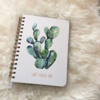 Indigo White/Green cactus notebook