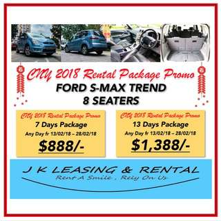CNY RENTAL PROMO FORD S-MAX S MAX TREND 7 8 SEATERS MPV SUV HATCHBACK SEDAN UBER GRAB