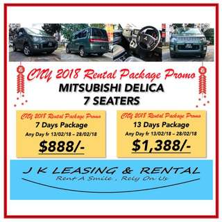 CNY RENTAL PROMO MITSUBISHI DELICA 7 8 SEATERS MPV SUV SEDAN HATCHBACK RENT RENTAL PROMO UBER GRAB