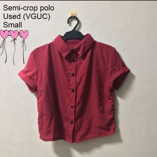 Maroon Crop Polo