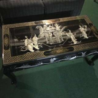 Oriental Coffee Table with Glass Top