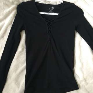 Deep V black long sleeve