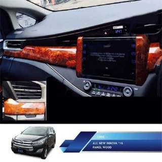 All New Innova Panel Kayu Dashboard JSL  Panel Wood Dashboard 3pcs. Warna : Coklat Kayu. Berat : 2kg.