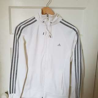 WHITE ADIDAS ZIP UP