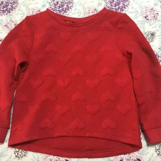 H&M red heart sweater