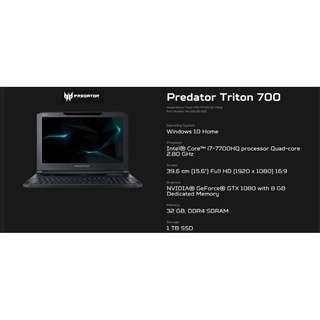 Acer Predator Triton 700 Gaming Laptop (nVIDIA® GeForce® GTX 1080 with MAX-Q design).