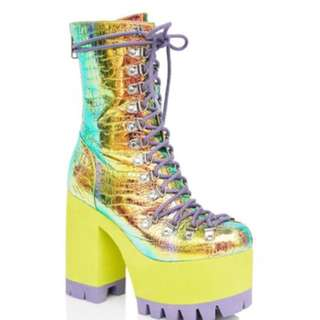 Rainbow holographic festival boots ***RENT***