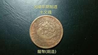 中國早期光緒年期制造的貨幣(特價品相價格/市價$88)