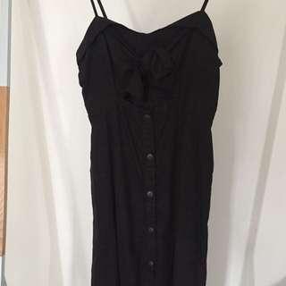 Bardot Black Linen Midi Dress with Tie Top