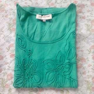 Green Sleeveless Appliqué Floral Design