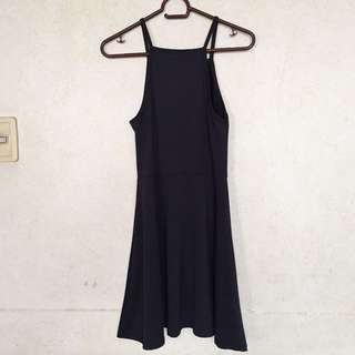 Black Halter Skater Dress