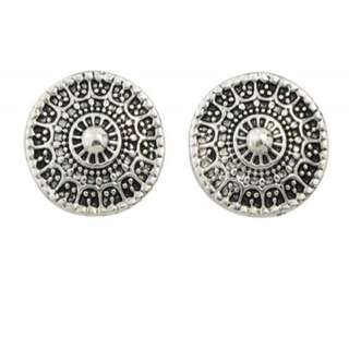 Silver festival circle earrings