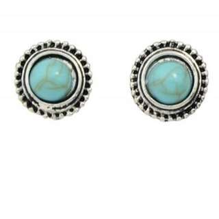 Turquoise stud silver earrings