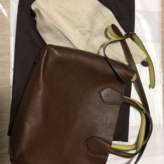 Gucci  Mimosa And Brown Leather Reversible Tote Bag 含羞草和棕色雙面皮革和帆布手提包單肩包