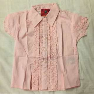 NWOT Rivers Kids Pink Blouse / Buttoned Shirt With Sweet Ruffles Size 4