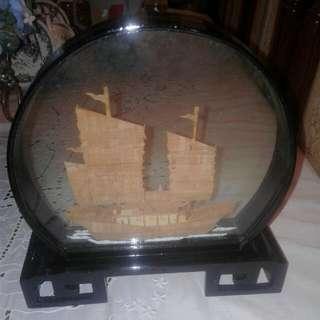Vintage Wooden Sailing Ship In Glass Frame