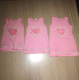 Set of 3 flower design shirts blouse sleeveless TOP for Trio