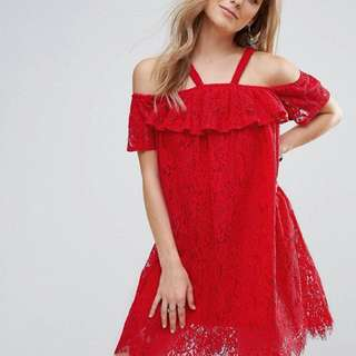 Missguided Red A-Line Lace Dress (SIZE 4)