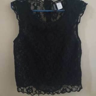H&M Black Lace Top, Button Up Back