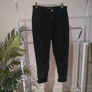 Top Shop Mom Jeans, Distressed Black, W28 L32