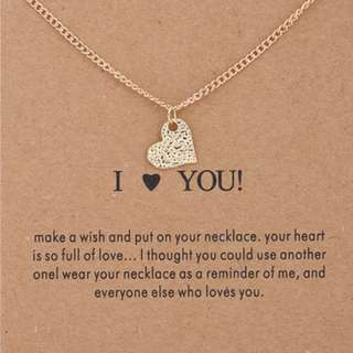 Sparkling heart gold-color Pendant necklace Heart Fashion Statement Clavicle Chains Necklace For Women Jewelry(Has card)