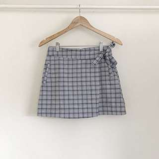 Light Grey Plaid Skirt