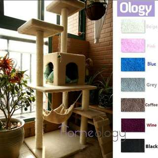 Cat Condo scratching tree w hammock kitten house tower kitty condo