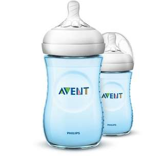 Philips AVENT Natural 260ml (9oz) (Blue / Pink) Twin Bottle