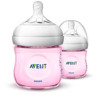Philips AVENT Natural 125ml (4oz) (Blue / Pink) Twin Bottle