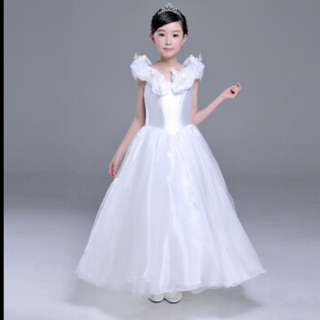 "Mitch (Michou) Children""s wear dress Summer snow princess performance dress Long white come with tiara and wand"