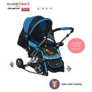 Sweet Heart Paris Aluminium 2IN1 Stroller + Rocker Cradle ST230 (Blue)