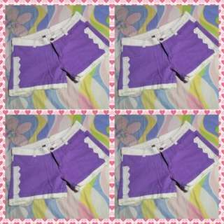 Short -Violet & White