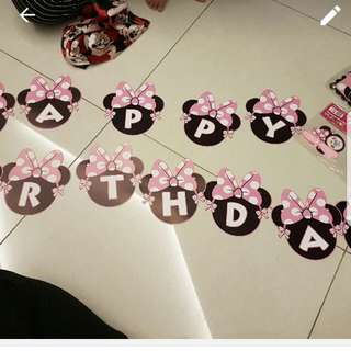 Happy Birthday Bunting Minnie mouse