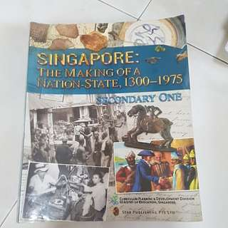 Sec 1 History text book and 1 Singapore history reference book