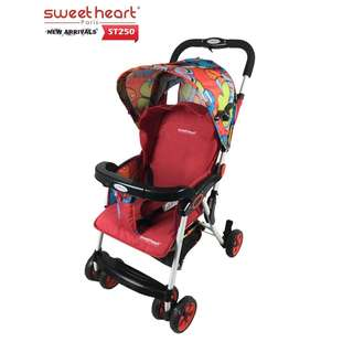 Sweet Heart Paris ST250 Iron Frame Stroller (Red) with One-Handed Folding