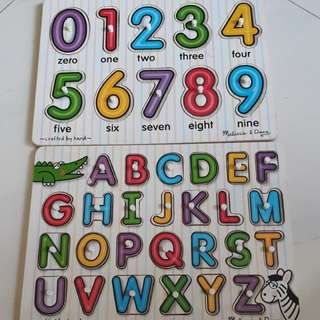 Alphabet and Number Wooden Puzzles Melissa & Doug