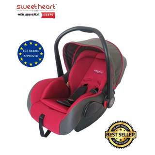 Sweet Heart Paris Baby Car Seat with Adjustable Canopy CS375 (New Red)