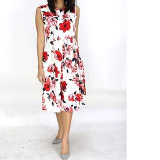 Women's Sleeveless Floral Printed Midi Dress