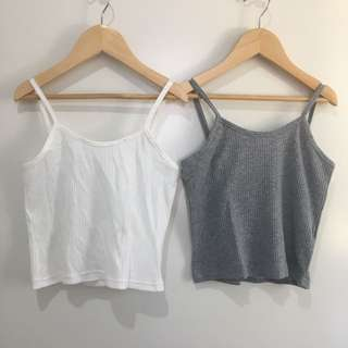 Grey and white cropped ribbed singlets
