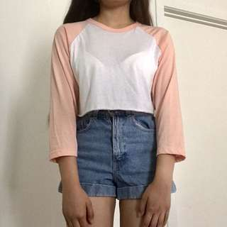 American Apparel Cute Peach Pink Raglan Top