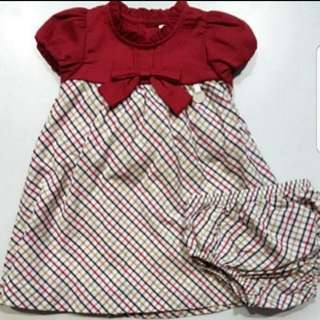Trudy and teddy baby girl red dress