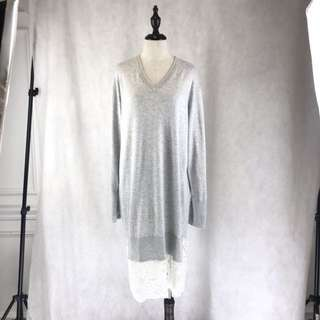 Grey Knitted Lace Dress *COMPANY SAMPLE