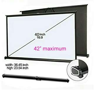 """40"""" Projector Screen16:9 Portable Matte White Projection Hanging Table Screen For Office Business Meeting Training"""