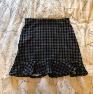 Bershka checkered trumpet skirt