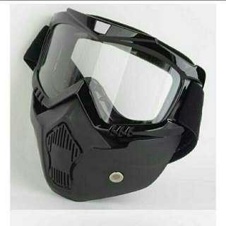 🆕🌟Hot Sales Modular Mask Detachable Goggles And Mouth Filter Perfect for Open Face Motorcycle Half Helmet or Vintage Helmets