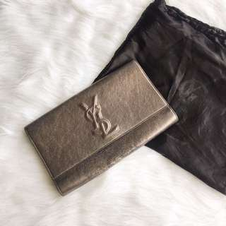 Authentic YSL Saint Lauren Metallic Belle de Jour Clutch in dark silver