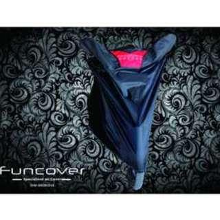 Cover Sarung Motor FunCover Size : L, XL. Warna : Hitam,Silver,Biru,Merah. Berat : 500gr.