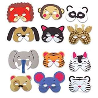 Foam animal masks for birthday party favors dress-up costume 12 packs assorted